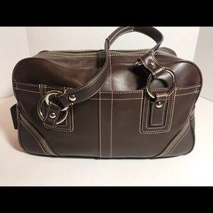Large Coach Chocolate Leather Satchel Like New!